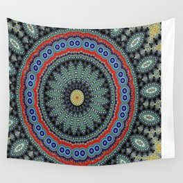 Lovely Healing Mandalas in Brilliant Colors: Black, Wheat, Slate Gray Red and Purple Wall Tapestry