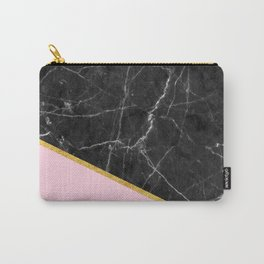 Black marble geometric gold leaf with pink Carry-All Pouch