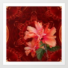 Orange hibiscus and vibrant kaleidoscope Art Print