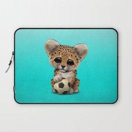 Leopard Cub With Football Soccer Ball Laptop Sleeve
