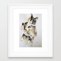 kitty Framed Art Prints featuring Kitty by Oriane Jouët