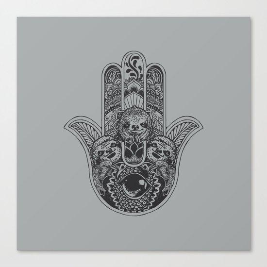 Hamsa Hand Sloth Canvas Print