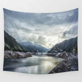 Cougar Reservoir on a Snowy Day Wall Tapestry
