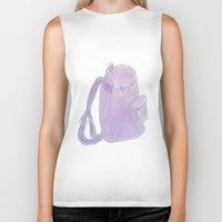 backpack Biker Tanks featuring Backpack purple by Atelier Pora