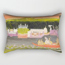 Radha and Krishna in the boat of love, 1755 Rectangular Pillow
