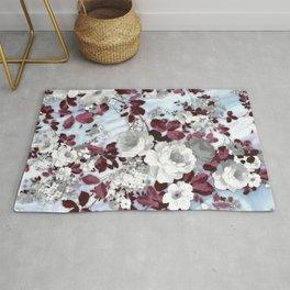 Boho burgundy white pastel marble floral pattern Rug
