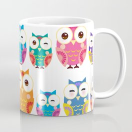 pattern - bright colorful owls on white background Coffee Mug