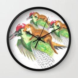 Weasel Riding Woodpecker Gang Wall Clock
