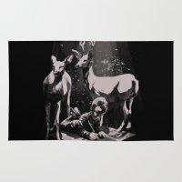 dad Area & Throw Rugs featuring Deer Dad by SPYKEEE