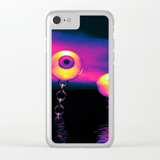 Pop Art Eyes Seascape Clear iPhone Case