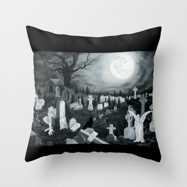 At night on the cemetery Angel with Devil Throw Pillow