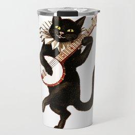 Cat playing a banjo Travel Mug