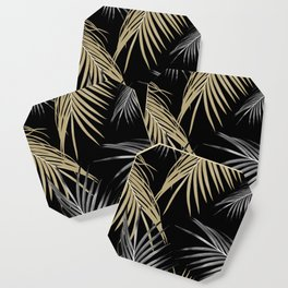 Gold Gray Palm Leaves Dream #1 #tropical #decor #art #society6 Coaster