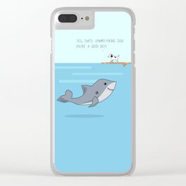 Shark practicing yoga pose Clear iPhone Case
