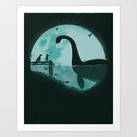 horse Art Prints featuring Encounter Under a Blue Moon by Jay Fleck