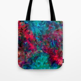 psychedelic geometric triangle abstract pattern in pink red blue Tote Bag