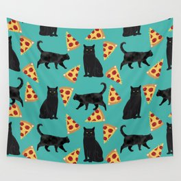 black cat pizza cat lover pet gifts cute cats Wall Tapestry