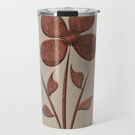 Cute Copper Flower Linen Canvas Travel Mug