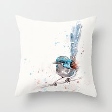 Mischief In The Making (Variegated Fairy Wren) Throw Pillow