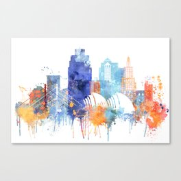 Kansas Watercolor Skyline Canvas Print