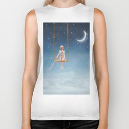 The lovely girl shakes on a swing Biker Tank