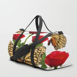 RED ROSES  & MONARCH BUTTERFLIES ART Duffle Bag