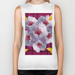BUTTERFLIES  WHITE TREE PEONY FLOWERS  BURGUNDY ART Biker Tank