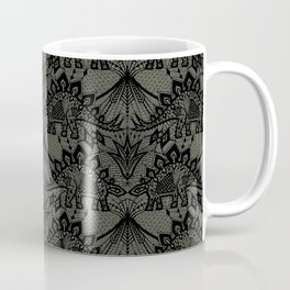 Stegosaurus Lace - Black / Grey - Coffee Mug