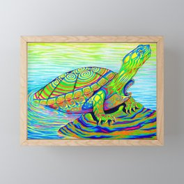 Colorful Psychedelic Neon Painted Turtle Rainbow Turtle Framed Mini Art Print