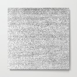 Back and White Simple Elegant Pattern Texture Metal Print