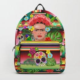 Frida Kahlo Floral Exotic Portrait Backpack