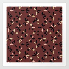 loves me loves me not pattern - oxblood Art Print