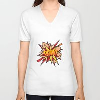 comic book V-neck T-shirts featuring Comic Book POW! by The Image Zone