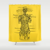 anatomy Shower Curtains featuring Anatomy Lesson by Hazel Bellhop