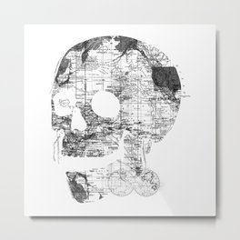Skull Wanderlust Black and White Metal Print