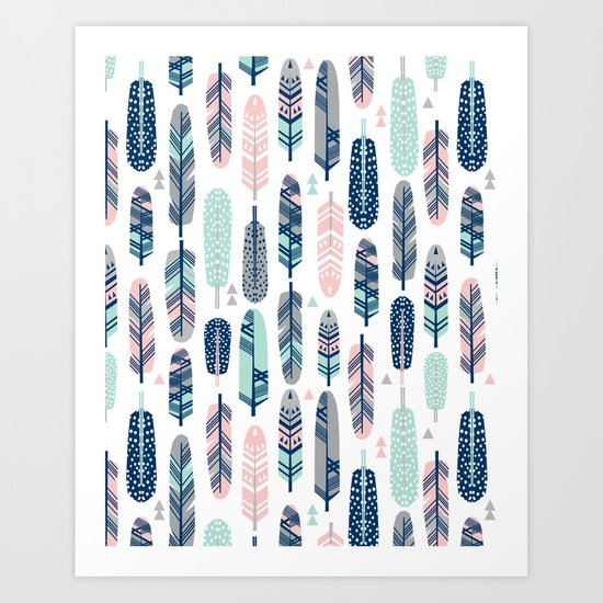 Feathers geometric trendy gender neutral colors modern feather and arrows pattern print dorm college Art Print
