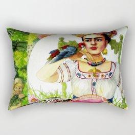 Frida Kahlo in the garden Rectangular Pillow
