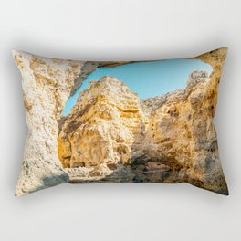 Natural Rock Formations In Lagos, Algarve Portugal, Travel Photo, Large Printable Photography Rectangular Pillow