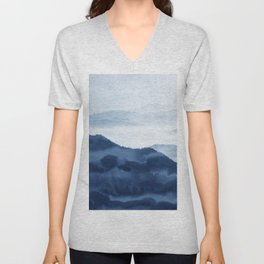 Blue Mountain 1, Abstract Watercolor Art Print By Synplus Unisex V-Neck