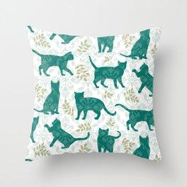 Damask Green Cats Throw Pillow