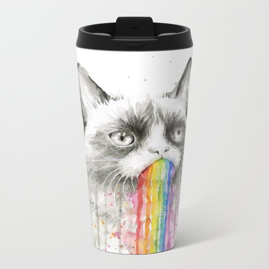 Grumpy Rainbow Cat Watercolor Animal Meme Geek Art Metal Travel Mug