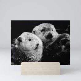 Sea Otter Pair in Black and White Mini Art Print