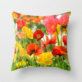 Cute poppies summer meadow watercolor painting Throw Pillow