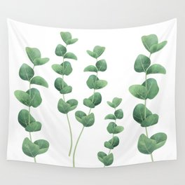 Eucalyptus polyanthemos leaves botanical illustration Wall Tapestry