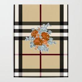 Flower in brown pattern Poster