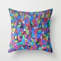 tetris Throw Pillows featuring Tetris by fieltrovitz