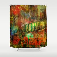 broadway Shower Curtains featuring Slice of Broadway by Ganech joe