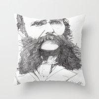 moustache Throw Pillows featuring Moustache by Paul Nelson-Esch Art