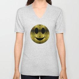 Sparkly Smiley Yellow Gold sparkles Unisex V-Neck