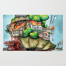 Howl's Moving Castle watercolor Rug
